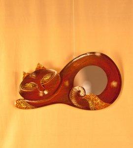 Зеркало `Кот`, декор `Золотистый`. 40х21х1 см.